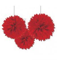Függő dekoráció, bolyhos papír 41cm 3db, piros