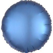 """Egyszínű kerek fólia lufi 18"""" 45cm Chrome Kék, Blue, n3680801, héliummal töltve"""