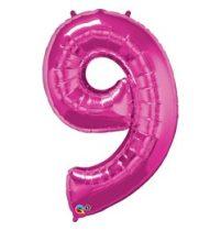 """Számos lufi 34"""" 86cm óriás rózsaszín fólia szám 9, Héliummal töltve, 30603"""