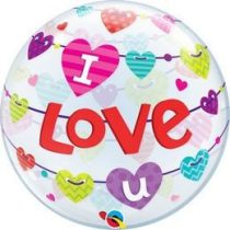 "Bubbles lufi 22"" 56cm Héliummal töltve ""I love you"", 46047"