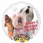 """Éneklő, zenélő lufi 28"""" (71cm) Happy Birthday, kutya, kutyás Héliummal töltött, 3127201"""