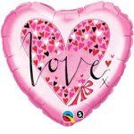 "Fólia lufi 18"" 45cm LOVE szív, 61881, héliummal töltve"