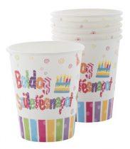 Papírpohár Boldog Születésnapot! 2dl, 6db
