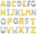 """Betű lufi 31"""" 80cm óriás arany fólia betű, L betű, Héliummal töltve"""