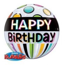 """Szülinapi Bubbles lufi 22"""" 56cm Héliummal töltve Happy Birthday, 25720"""