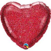 """Egyszínű szív fólia lufi 18"""" 45cm piros szív, 99594, héliummal töltve"""