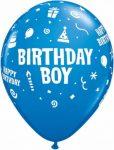 """Szülinapi latex lufi 11"""" 28cm 6db Birthday boy, 17920"""
