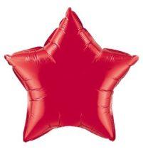 """Egyszínű csillag fólia lufi 20"""" 50cm piros csillag, 12626, héliummal töltve"""