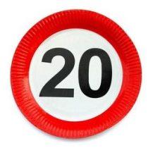 Papírtányér sebességkorlátozó 20-as számmal 23cm 6db, 20666