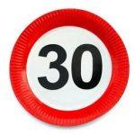 Papírtányér sebességkorlátozó 30-as számmal 23cm 6db, 20673