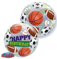 """Szülinapi Bubbles lufi 22"""" 56cm Héliummal töltve Happy Birthday, sport ball, 34821"""