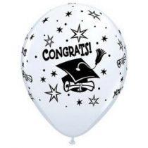 """Ballagási latex lufi 11"""" 28cm Congrats!, 6db, 41545"""