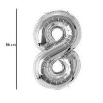"""Számos lufi 34"""" 86cm óriás ezüst fólia szám, számjegy 8-as Héliummal töltve, 30429"""