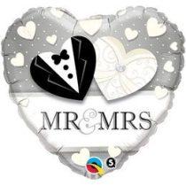 """Esküvői fólia lufi 18"""" 45cm Mr&Mrs, 15771, héliummal töltve"""