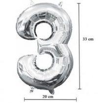 """Számos lufi 16"""" (40cm) fólia szám, számjegy 3 levegővel tölthető, ezüst, 3308001"""