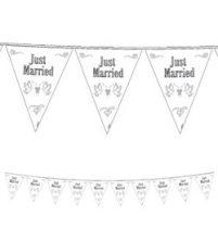 Just married, esküvői zászlófüzér,  10m, f21057