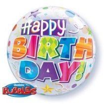 """Szülinapi Bubbles lufi 22"""" 56cm Héliummal töltve Happy Birthday, 30808"""