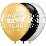 "QUALATEX 11"" (28cm-es) -  25db/csomag - Happy New Year szilveszteri lufi"