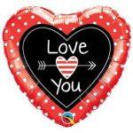 """Fólia lufi 18"""" 45cm """"I love you"""" szív, 54850, héliummal töltve"""
