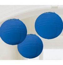 Lampion gömb 24cm 3db, kék színben