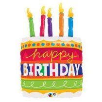 """Szülinapi lufi 35"""" 89cm óriás fólia Happy Birthday, torta, 17269, héliummal töltve"""