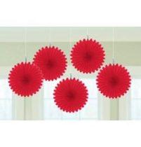 Függő dekoráció, legyező 15,2cm 5db, piros