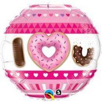 "Fólia lufi 18"" 45cm ""I love you"", fánk, donut, 21829, héliummal töltve"