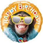 """Szülinapi fólia lufi 18"""" 45cm Happy Birthday, Majom, csimpánz, 25496, héliummal töltve"""