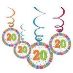 Függő dekoráció, 6db, Radiant, 20-as számmal, 20239