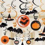 k  Denevérek, Tökök És Pókok Spirál Függő Dekoráció Halloweenre, 30 Db