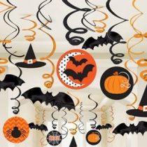 Denevérek, Tökök És Pókok Spirál Függő Dekoráció Halloweenre, 30 Db