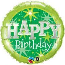 """Szülinapi fólia lufi 18"""" 45cm Happy Birthday, 37924, héliummal töltve"""