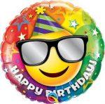 """Mosolygó fólia lufi 18"""" 45cm, smiley, Happy birthday, 49057, héliummal töltve"""
