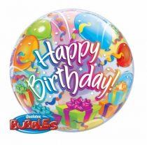 """Szülinapi Bubbles lufi 22"""" 56cm Héliummal töltve Happy Birthday, 65407"""