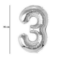 """Számos lufi 34"""" 86cm óriás ezüst fólia szám, számjegy 3-as Héliummal töltve, 30409"""