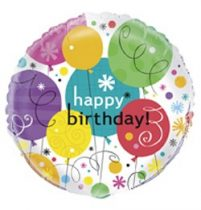 """Szülinapi fólia lufi 18"""" 45cm Happy Birthday, 28957, héliummal töltve"""