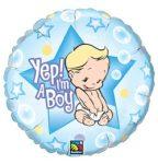 """Fólia lufi babaszületésre 18"""" 45cm - Yes, I'm a boy, 86885, héliummal töltve"""