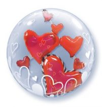 """Double Bubble, lufiban lufi 24"""" 61cm krisztálytiszta, átlátszó, szív belsővel, Héliummal töltve, 68808"""