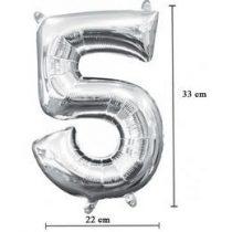 """Számos lufi 16"""" (40cm) fólia szám, számjegy 5 levegővel tölthető, ezüst, 8808401"""