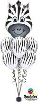 Héliumos luficsokor bármely alkalomra, zebra - INGYENES KISZÁLLíTÁSSAL