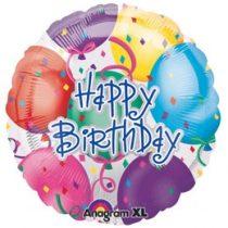 """Szülinapi fólia lufi 18"""" 45cm Happy Birthday, 1028501, héliummal töltve"""