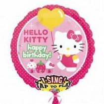 "Éneklő, zenélő lufi 28"" (71cm) Happy Birthday, Hello Kitty, 2588563"