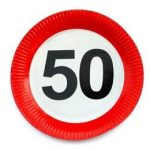 Papírtányér sebességkorlátozó 50-es számmal 23cm 6db, 20697