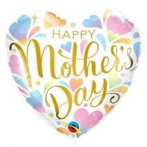 """Anyák napi fólia lufi 18"""" 45cm Happy Mother's Day, 3706301, héliummal töltve"""