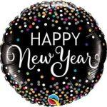"""Fólia lufi 18"""" 45cm Happy New Year szilveszteri lufi, 52891, héliummal töltve"""