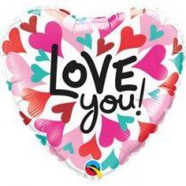 """Fólia lufi 18"""" 45cm """"I love you"""" szív, 46070, héliummal töltve"""