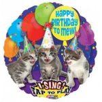 """Éneklő, zenélő lufi 28"""" (71cm) Happy Birthday, cica, macskás, Héliummal töltött, 3062601"""
