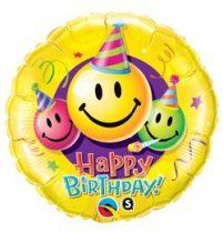 """Szülinapi óriás fólia lufi 36"""" 91cm Happy Birthday, Smiley, 29860, héliummal töltve"""