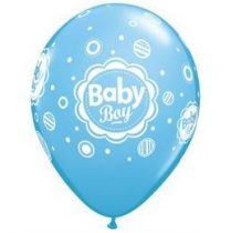 "Mintás latex lufi 11"" 28cm 6db Baby boy, 17803"
