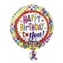 """Éneklő, zenélő lufi 28"""" (71cm) Happy Birthday, Héliummal töltött, 2686901"""